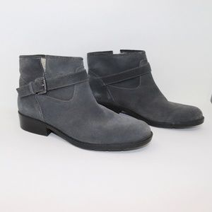 Suede Flat Sherpa Lined Buckle Strap Ankle Bootie